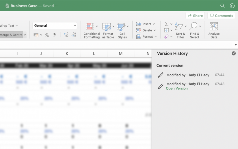 Restore a Previous Excel Version History
